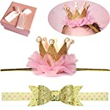 Accessories Girls Best Deals - Elesa Miracle Baby Hair Accessories Baby Girl's Gift Box with Shiny Bow Crown Tiara Headband (2pc- Gold)