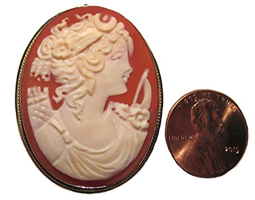 Goddess Diana Cameo Broach Pendant Master Carved, Shell Sterling Silver 18k Gold Overlay Italian by cameosRus (Image #4)'