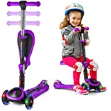 Scooter For Kids with Folding Seat – 2-in-1 Adjustable 3 Wheel Kick Scooter for Toddlers Girls & Boys – Fun Outdoor Toys for Kids Fitness, Outside Games, Kid Activities – Y200 (Purple, Scooter)