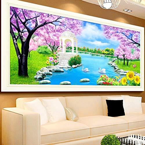 Zamtac Full Drill Square Diamond 5D DIY Diamond Painting''Cherry Blossom scenery''Diamond Embroidery Cross Stitch Rhinestone Mosaic - (Color: A, Size: 250X100) by Ochoos (Image #1)