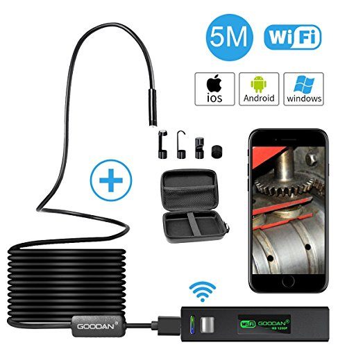 Wireless Endoscope, GOODAN Updated 1200P HD Wifi Borescope Inspection Camera With 2.0 Megapixels HD Snake Camera For Iphone IOS and Android Smartphone, Table, Ipad, PC - Black (16.5FT) (Fixed Camera Wired Network)
