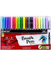 Caneta Ponta Pincel, Newpen, Brush Pen, 19 cores+1 Blender, 20 unidades