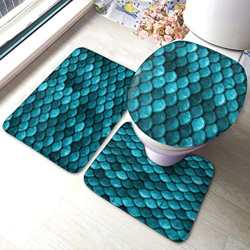 Contour Rug Beautiful Lime Green Mermaid Fish Scales Comfort Flannel Bathroom Rug Mats Set 3 Piece Soft Non-Slip with Backing Pad Bath Mat Toilet Lid Cover Absorbent