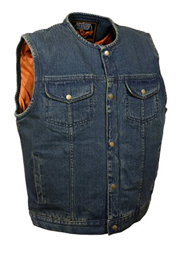 Men's SOA Anarchy Style Denim Vest w/ One Inside Concealed Weapon Gun Pockets (XXXX-Large, Blue Collarless) by Bikers Edge
