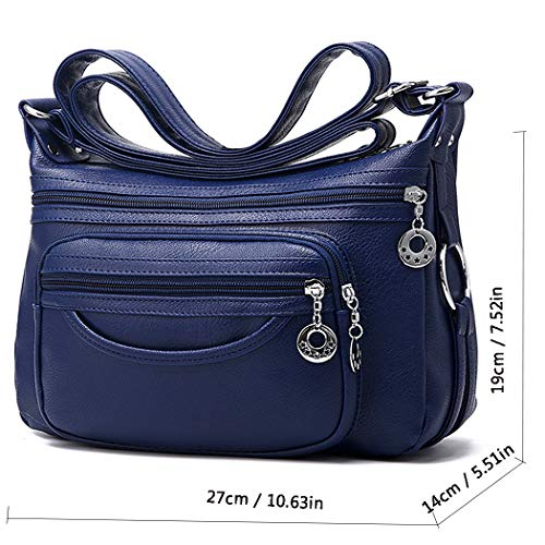 Women Crossbody Leather Pockets Medium Blue Cocifer Bags Multi Bag For Ladies Purses Shoulder qTBxf6w