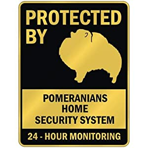 """PROTECTED BY """" POMERANIANS HOME SECURITY SYSTEM """" PARKING SIGN DOG 22"""