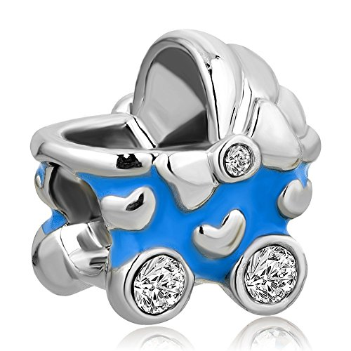 CandyCharms Blue Boy Baby CZ Crystal Carriage Bead Charms For Bracelets (Baby Blue Bracelet)