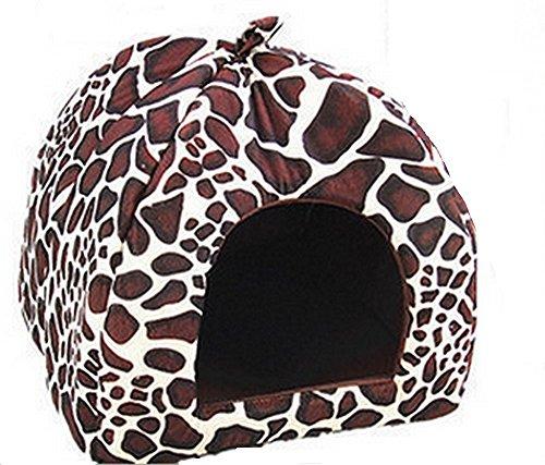 Strawberry Pet Dog Cat Bed House Kennel Basket Pad(Leopard)-(S) - 7