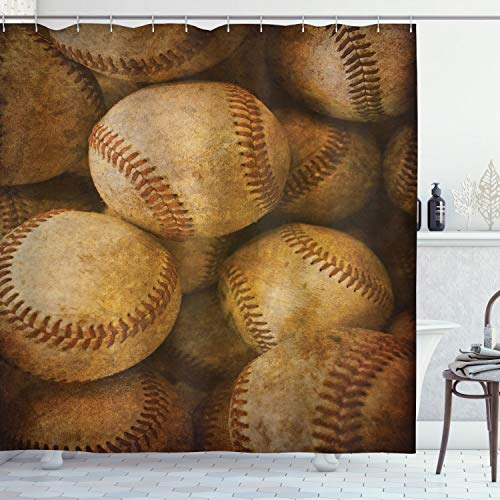 Ambesonne Vintage Decor Collection, Vintage Baseball Backgorund American Sports Theme Nostalgic Leather Retro Balls Artwork, Polyester Fabric Bathroom Shower Curtain, 75 Inches Long, Brown