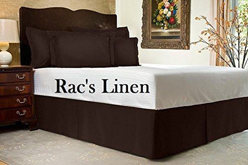 Rac's Linen Olympic Queen Size 600TC Egyptian Cotton Chocolate Solid 3-PCs Bed Skirt Set with Drop Length 15 inches - Tailored Finish Super Comfy Fabric( 1 Bedskirt, 2 Pillow shams )
