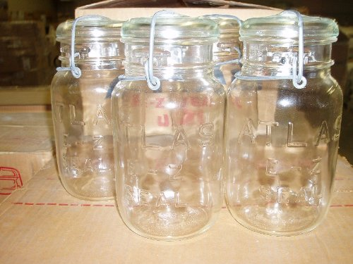 Hazel Atlas Ez Seal Antique/Collectible Quart Sized Jars - Sealed Original Factory Carton (New Old Stock) 12 Pieces From Approx 1954-64 Vintage - Great Looking Decorative Jars by Hazel Atlas (Image #1)