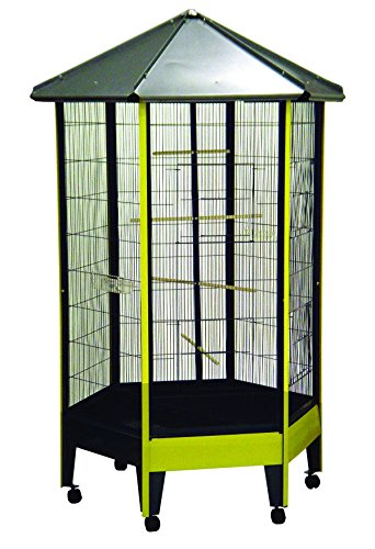 YML AV36 1/2-Inch Bar Spacing Hexagon Aviary Bird Cage, 36 b