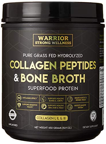 Collagen Peptides & Bone Broth by Warrior Strong Wellness: Pure Grass-Fed Hydrolyzed Collagen Powder Boost for Healthy Skin, Nails, Hair, Joints, Muscles &