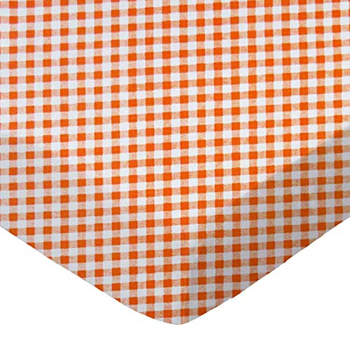 SheetWorld 100% Cotton Percale Fitted Crib Toddler Sheet 28 x 52, Orange Gingham Check, Made in ()