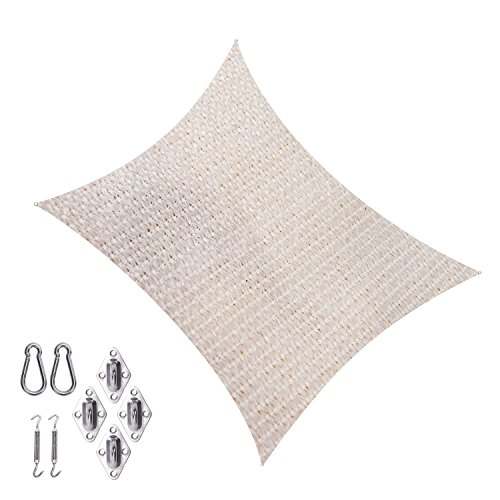 Cool Area CAS-18512-17B Square 11'5' Sun Shade Sail with Stainless Steel Hardware Kit, Cream