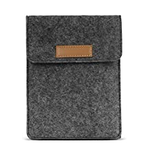MoKo 6-Inch Felt Sleeve Bag, Portable Carrying Protective Case Cover Pouch, for Kobo Touch 2.0, Kobo Glo HD, Tolino Shine 2HD, Tolino Vision 3HD E-Book E-Reader, Dark Gray
