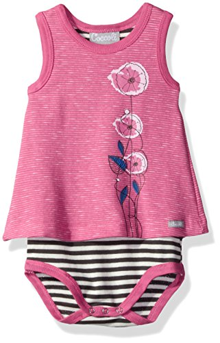 Skirted Romper, Pewter Stripe Pink, 1m ()