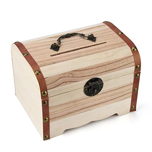 Chartsea Wooden Piggy Bank Safe Money Box Savings With Lock Wood Carving Handmade (A)