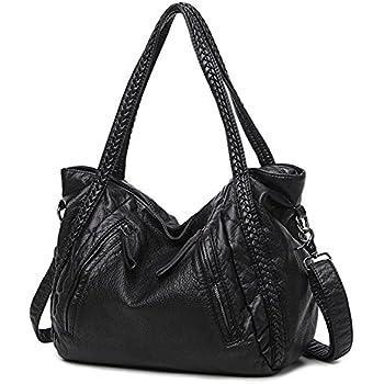 ae6fb64f1a Mn Sue Black Large Slouchy Soft Leather Women Handbag Braided Shoulder Tote  Bag Lady Hobo Satchel