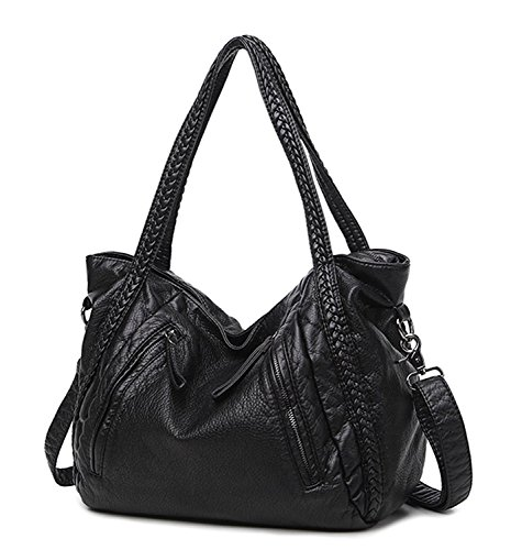 Mn&Sue Black Large Slouchy Soft Leather Women Handbag Braided Shoulder Tote Bag Lady Hobo Satchel (Satchel Woven Zip Top)