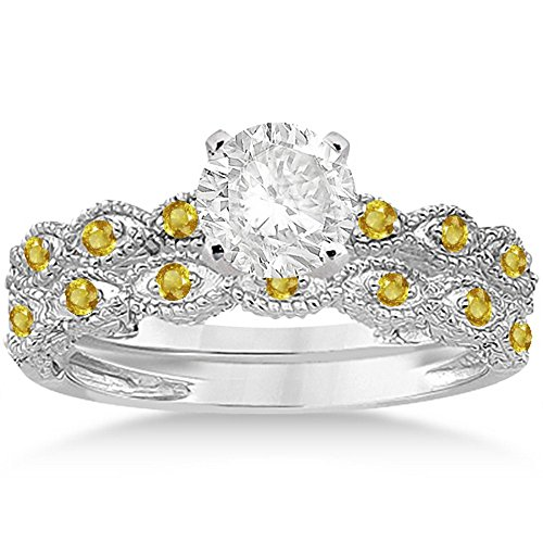Antique Filigree Marquise Shape Brilliant Yellow Sapphire Engagement Ring Set Palladium (Palladium Yellow Ring)