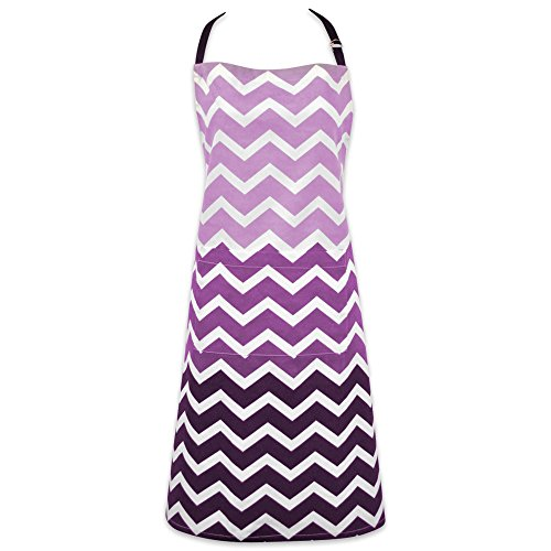 Apron Bbq Purple (DII Cotton Ombre Chevron Women Kitchen Apron with Pocket and Extra Long Ties, 33 x 28