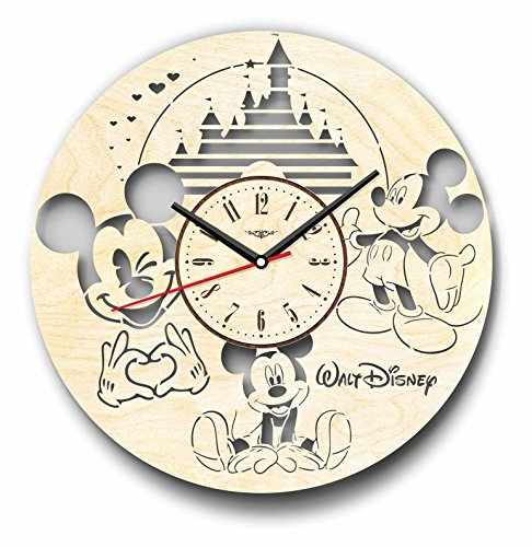 7ArtsStudio Mickey Mouse Wall Clock Made of Wood - Perfect and Beautifully Cut - Decorate Your Home with Modern Art - Unique Gift for Him and Her - Size 12 -