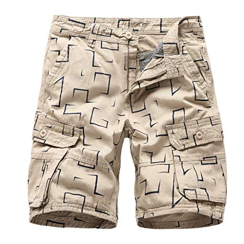 Alangbudu Men's Cotton Relaxed Fit Fit Outdoor Plaid Cargo Shorts Hiker Short Big & Tall Ranger Side Khaki