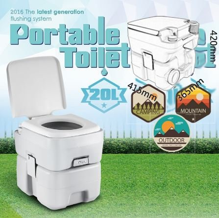 K A Company Travel Flushing Toilet Removable Camping Portable Bank In Gray