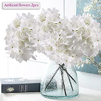 Amazon sunrisee artificial flowers 5 big heads fake silk artificial hydrangea flowers meiwo 2 pcs nearly natural fake hydrangea silk flowers to shine your mightylinksfo Image collections