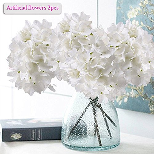 Artificial Hydrangea Flowers, Meiwo 2 Pcs Nearly Natural Fake Hydrangea Silk Flowers to Shine Your Wedding Scene Arrangement and Home Party Decor(White) - Long Stem Topiary