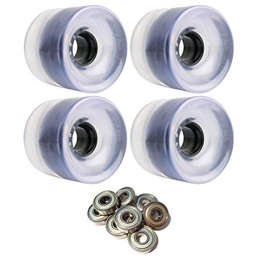 TGM Skateboards Longboard Cruiser Wheels 62mm x 51.5mm 83A Clear ABEC 7 Bearings