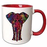 3dRose mug_240650_5 Colorful Abstract Art of Asia Elephant - Two Tone Red Mug, 11oz