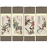 Grace Art Asian Wall Scroll, Set of 4, Four Seasons with Birds