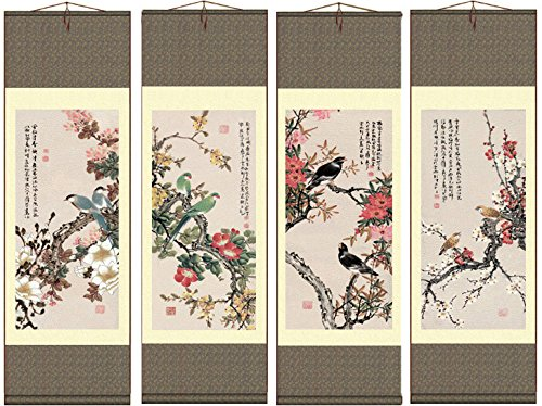 (Grace Art Asian Wall Scroll, Set of 4, Four Seasons with Birds)