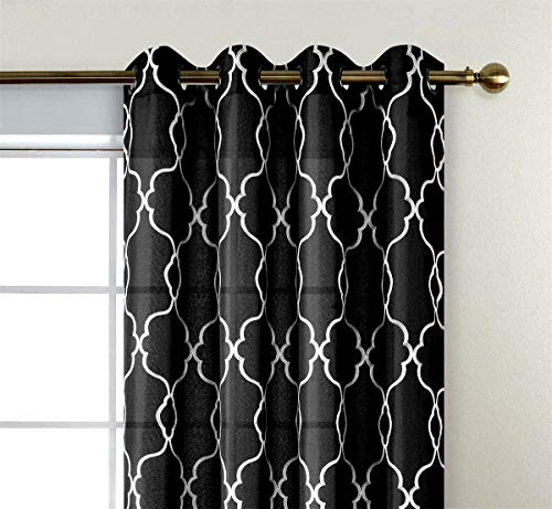 MIUCO Moroccan Embroidered Semi Sheer Curtains Faux Linen Grommet Curtains for Living Room 52 x 63 Inch 2 Panels, Black