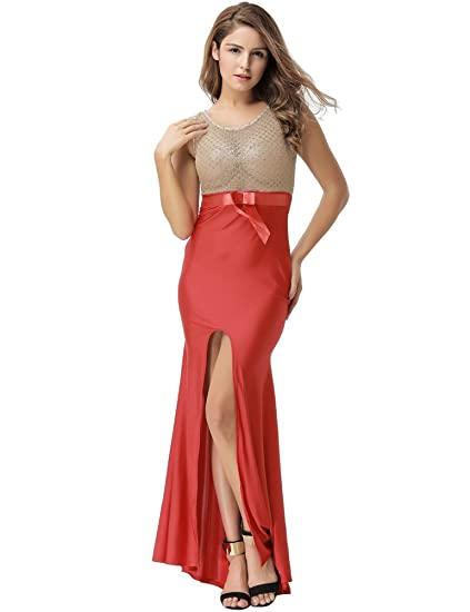 SEVEN STYLE Women Amazing Gold Lace Evening Gown Multivariant Style Formal Evening Dresses