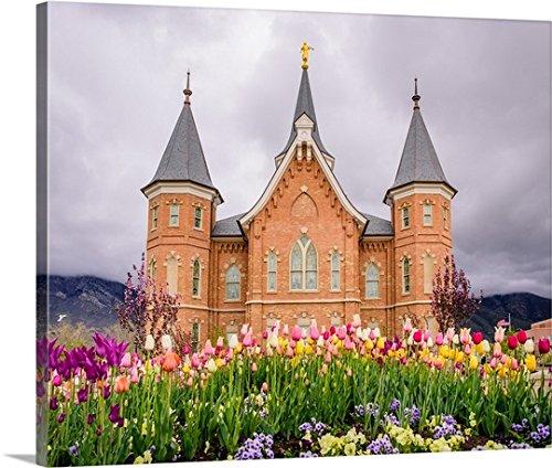 Temple Tulips (Scott Jarvie Premium Thick-Wrap Canvas Wall Art Print entitled Provo City Center Temple, Springtime Tulips, Provo, Utah 20
