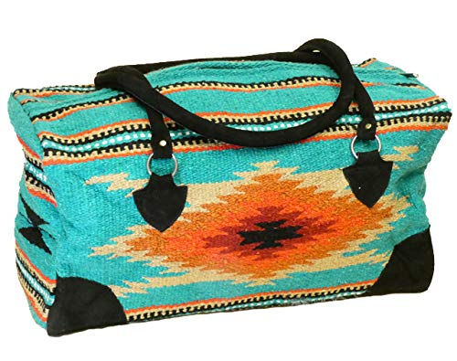 (Mission Del Rey Southwest Go West Travel Bag -Weekender Duffle Bag, Hand Woven Rug Bag w/Leather Handles -El Paso Saddle Blanket (C-Teal, Large))