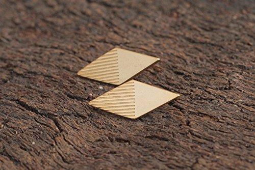 Gold Striped Lozenge Earrings ()