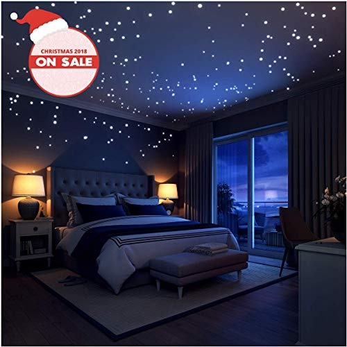 Glow In The Dark Stars Wall Stickers252 Adhesive Dots And Moon For - How-to-make-a-starry-night-ceiling-in-the-bedroom