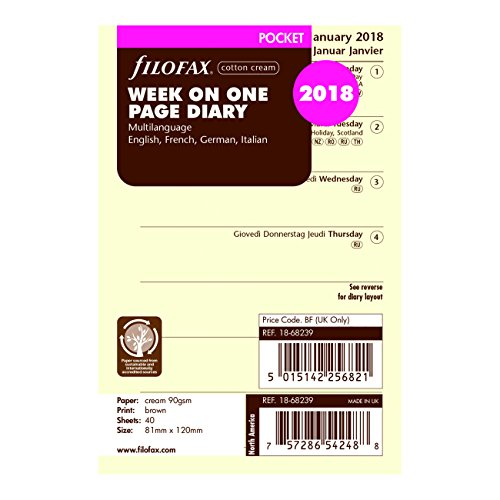 Filofax 2018 Pocket Week on a Page Refill, Cream Paper,Jan 2018- Dec 2018, 4.75 x 3.25 inches (C68239-18)