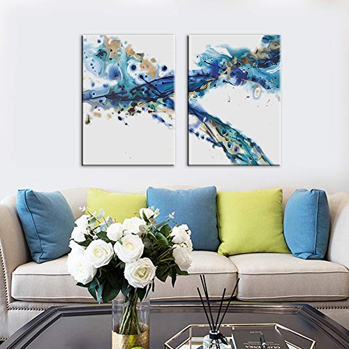 Canvas Wall Art Abstract Powder Ink Painting Prints Wall Artworks Pictures 2 Panels Canvas Print Wall Décor Paintings for Home Living Room Bedroom Decoration Office Framed Ready to Hang,20x28in x2pcs