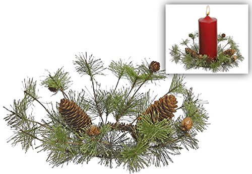 christmas smoky mtn pine candle ring with 2 types of pinecones 9 inch diamter