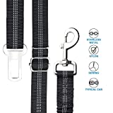 UNIPETTY Dog Seat Belt, Retractable Nlyon Car Leash for Pet Dog Cat, Pet Safety Leads Vehicle Seatbelt, Black- 2 Pack