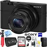 Sony Cyber-shot DSC-RX100 20.2 MP Compact Digital Camera with F1.8 Zeiss Vario-Sonnar T lens w/3.6x zoom Bundle with Tripod Travel Case Memory Card and Cleaning Kit