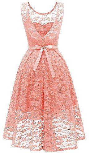ceinture soire Retro bal Asymtrique demoiselle dentelle de YOGLY robe d'honneur Vintage Rose up Hepburn une 1950's jupe avec high pin low cocktail Audrey qn1zC