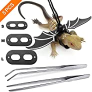 SAYOPIN Adjustable Reptile Lizard Leash for Bearded Dragon Harness + 2pcs Reptile Feeding Pliers Stainless Ste
