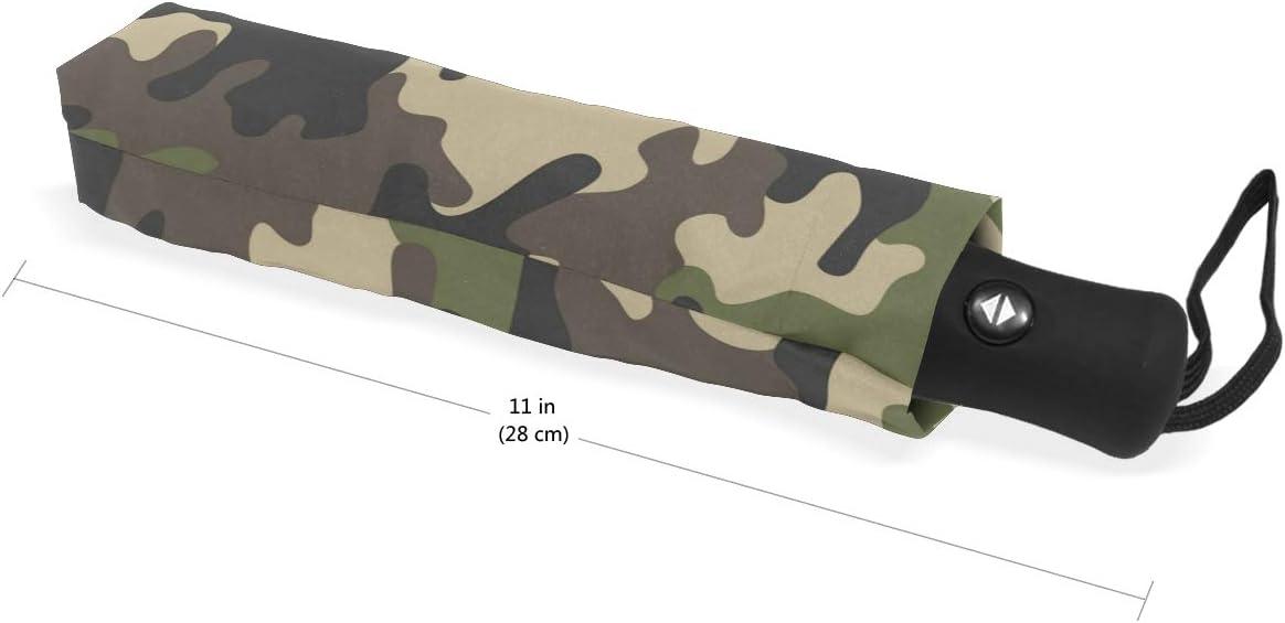 dise/ño de Camuflaje Militar liviano Resistente al Viento para ni/ños y ni/ñas BIGJOKE Paraguas Plegable de 3 Pliegues con Cierre autom/ático Compacto para Viajes Lluvia