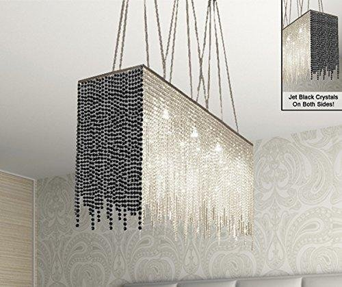 10 Light Modern/Contemporary Dining Room Chandelier Rectangular Chandeliers  Lighting Dressed With Jet Black Crystal